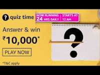 Amazon Quiz Answers Time Daily @ 24 HRS on 01 Mar 2021 Win 10,000