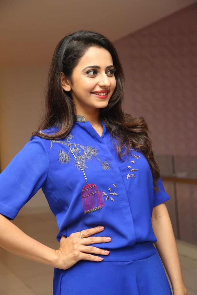 South Indian Actress Rakul Preet Singh Photos At Big C Shop Event In Blue Dress