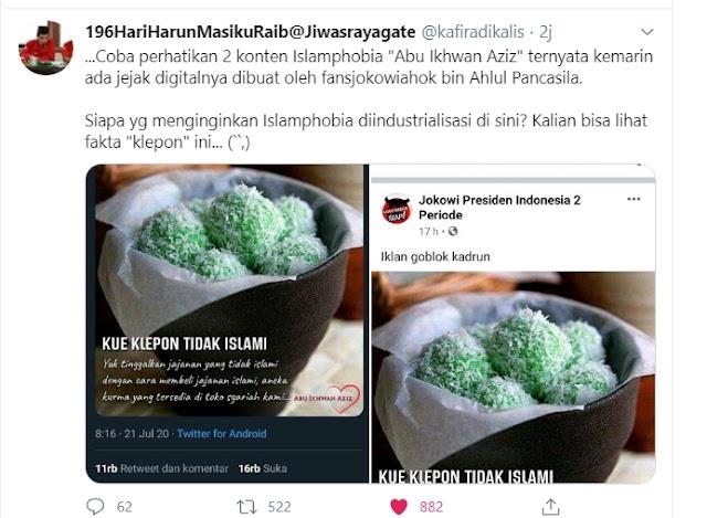 Klepon tidak islami dibuat oleh pendukung jokowi