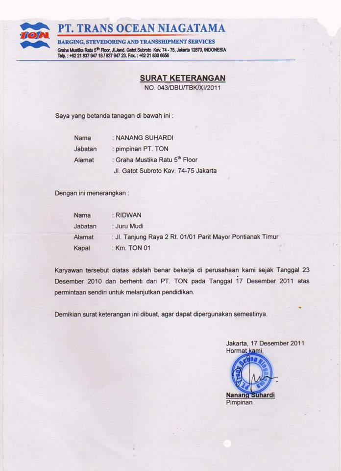 Surat Permohonan Off Dari Kapal - Guru Paud