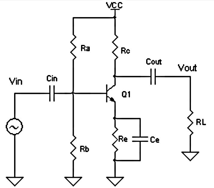the is an example circuit with common emitter npn transistor q1