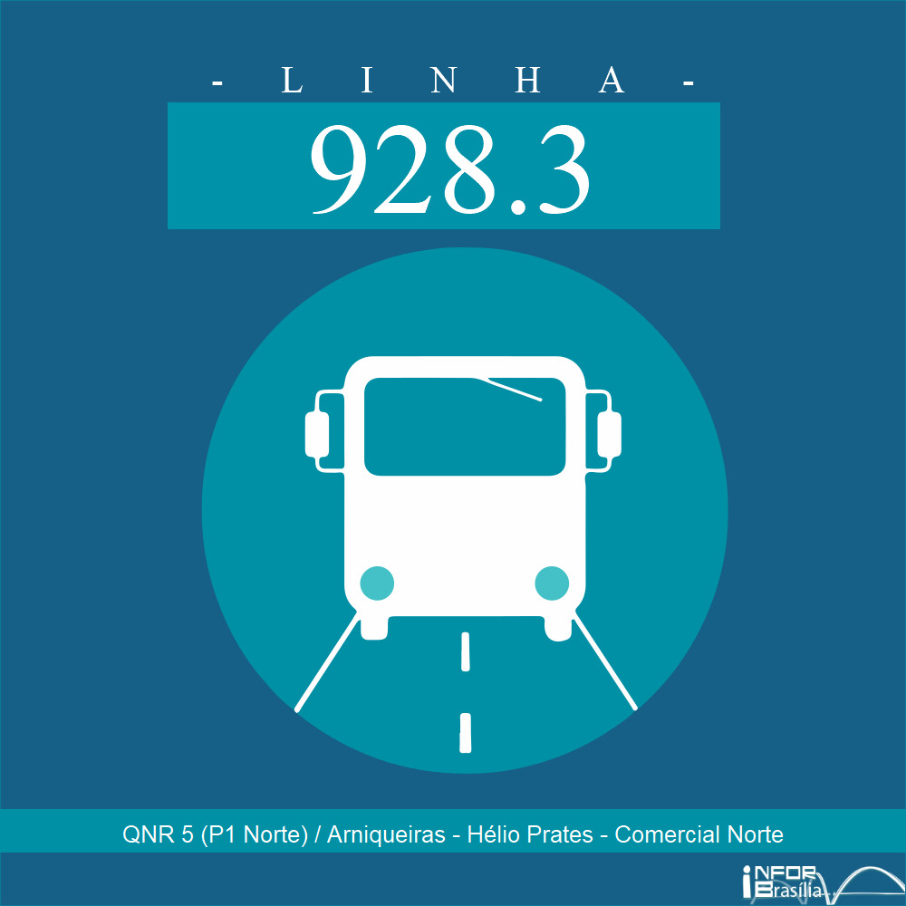 Horário de ônibus e itinerário 928.3 - QNR 5 (P1 Norte) / Arniqueiras - Hélio Prates - Comercial Norte