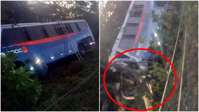 Acidente com ônibus da Rio Doce na BR-393, próximo de Além Paraíba