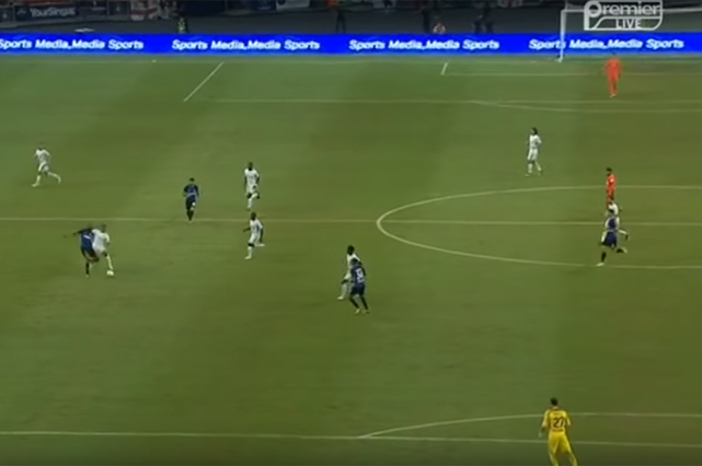 Inter Milan midfielder Geoffrey Kondogbia kicks the ball into his own net from 45 yards
