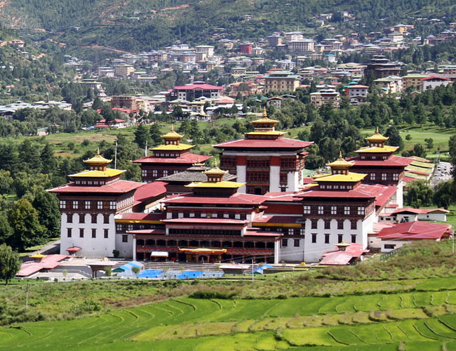 Xvlor Tashichho Dzong is throne and office of King Bhutan in Thimphu City