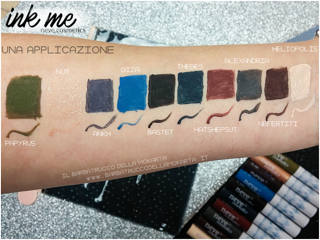 SWATCHES 2 HATSHEPSUT INKME EYELINER NEVE COSMETICS REVIEW RECENSIONE