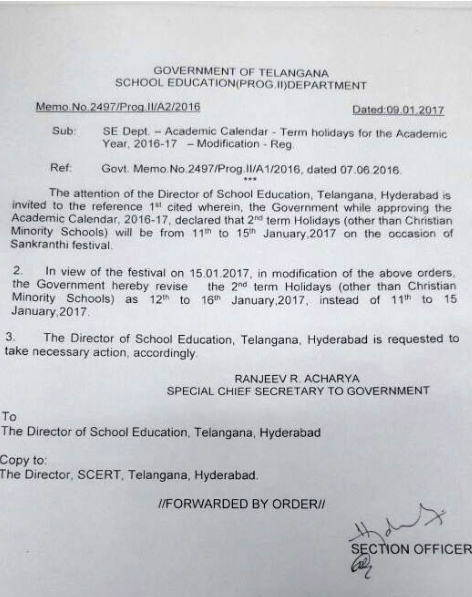 Sankranthi/Pongal Holidays to TS Schools from January 12 to 16, 2017