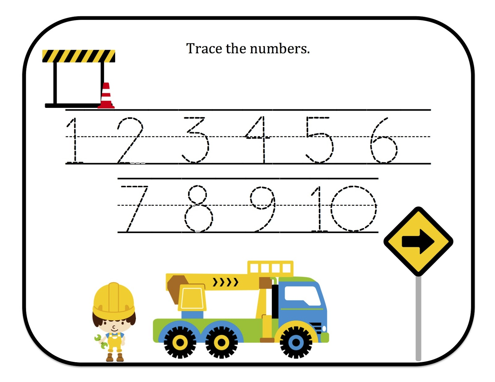 Numbers tracing printables for preschoolers - Construction Number Tracing Printable