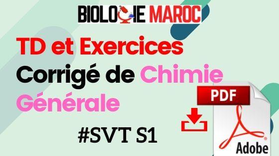 Exercices et TD Corrigés de Chimie Générale SVT S1 PDF à Télécharger