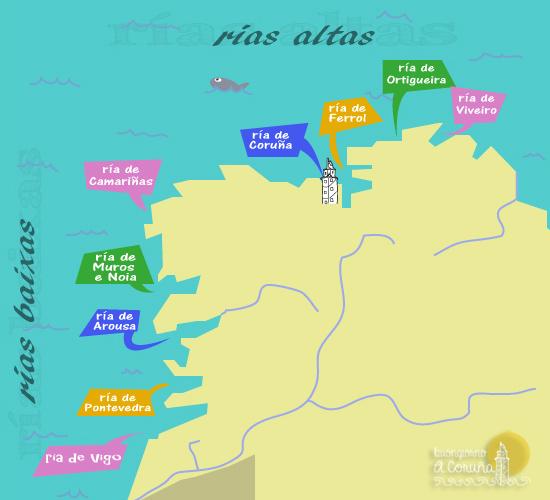 Spagna Galizia Cartina.Le Rias I Fiordi Galiziani Buongiorno A Coruna