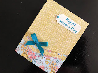 Hand Made Mothers Day Card with Die Cut Patterned Paper