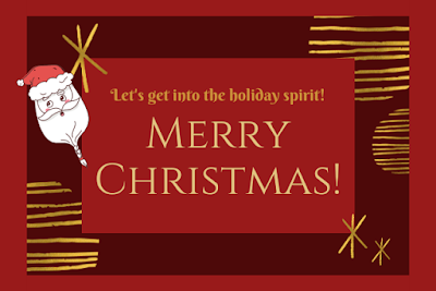 Merry Christmas written on decorative red background & Santa Claus image.