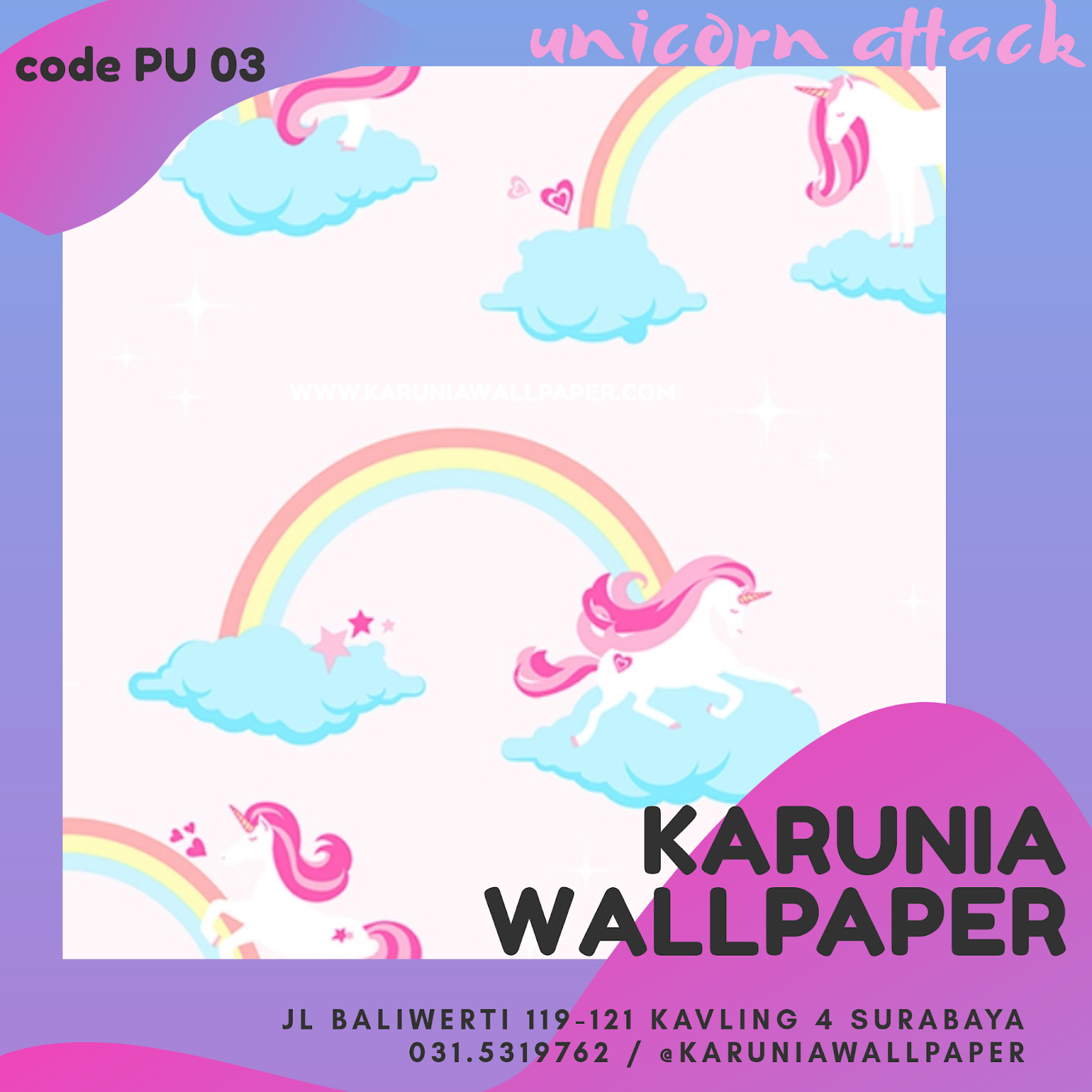jual wallpaper motif unicorn