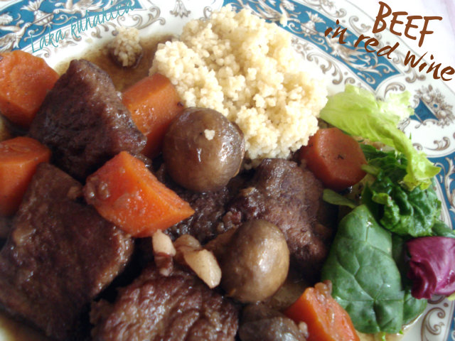 Beef in red wine by Laka kuharica: Tender, hearty and aromatic stew.