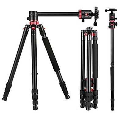 SHOPEE HF- 550 Professional Aluminium Tripod Cum Monopod with Multipurpose Head for Low Level Shooting, Panning for All DSLR Camera
