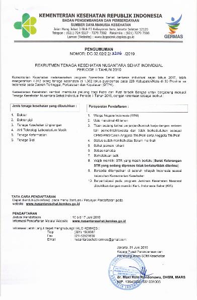 Jadwal Rekrutmen Tenaga Kesehatan Nusantara Sehat Individual Periode II Tahun 2019