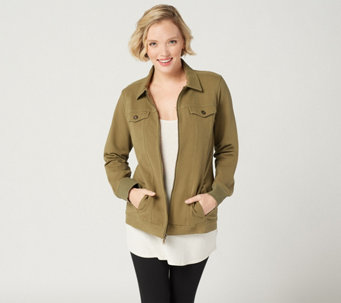 Comfy Knit Denim Zip Front Jacket 43 30 Available In  Colors