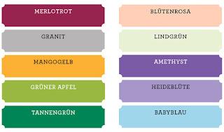 Stampin Up neue Farben Farbernuerung Farbauffrischung neu Farbfamilien Merlotrot Tannengrün Mangogelb Grüner Apfel Granit Blütenrosa Lindgrün Amethyst Babyblau Heideblüte