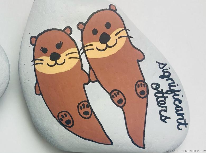 valentines painted rocks - otter