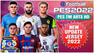 Download PES 2022 TM ARTS PPSSPP HD Straight Line Grass & New Update Kits 2021/2022