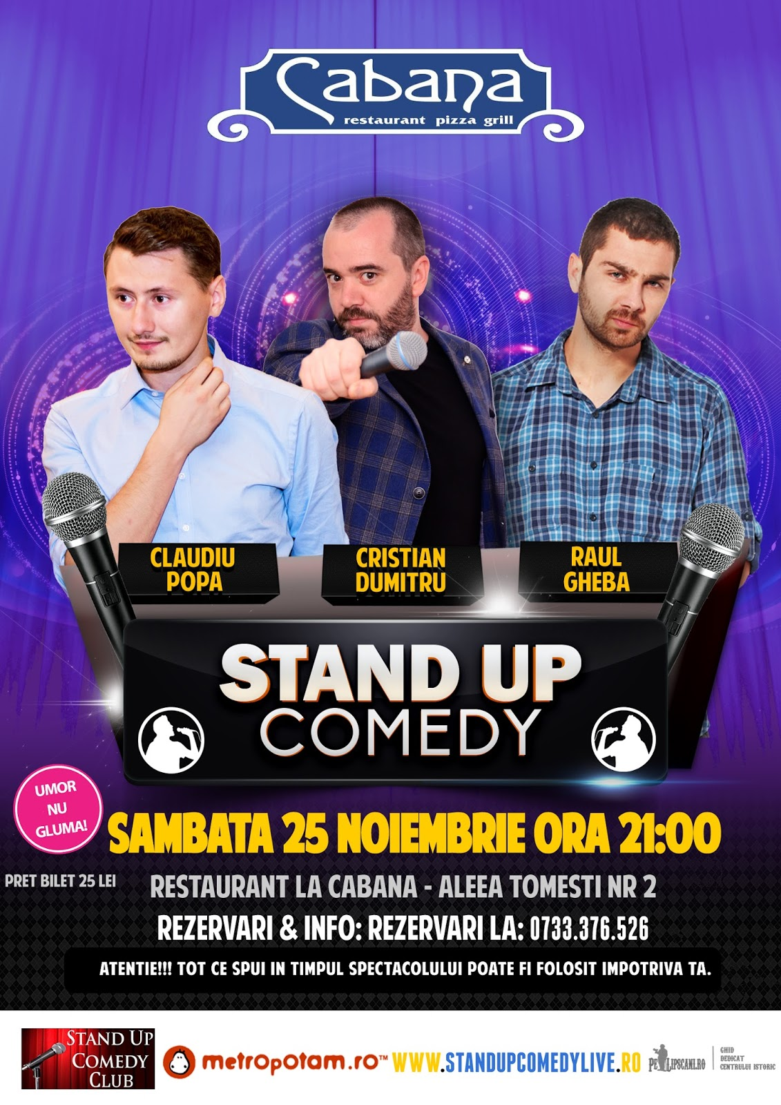 Stand-Up Comedy Bucuresti Sambata 25 Noiembrie 2017