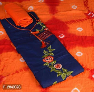 Satin Cotton Embroidered Dress Material