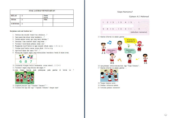 Soal Penilaian Harian (PH) Kelas 1 SD/MI: Tema 1