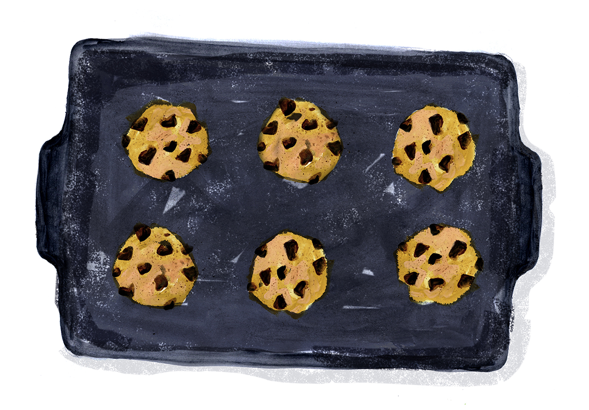 Milk Chocolate Chip Cookies, Lauren Monaco Illustration