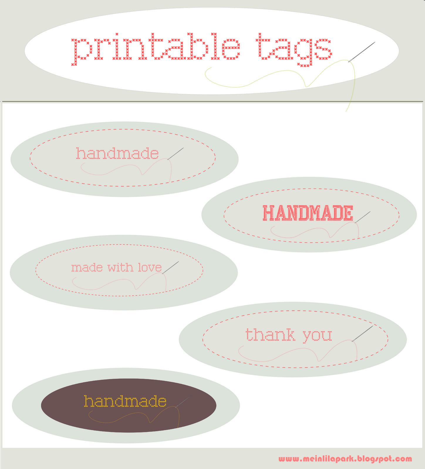 Free Printable Handmade And Made With Love Tags