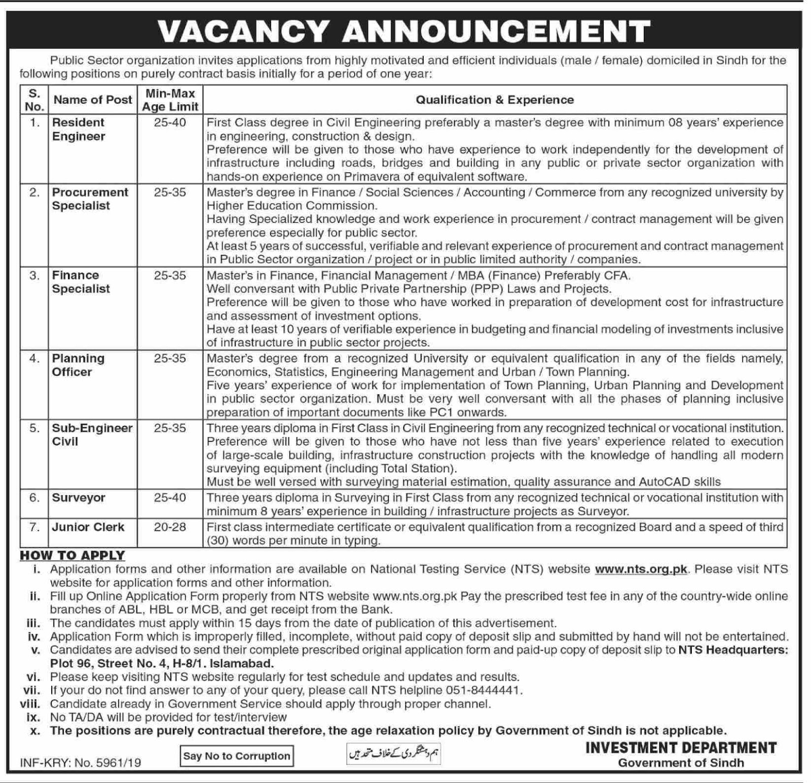 Public Sector Organization Jobs for Male/Female