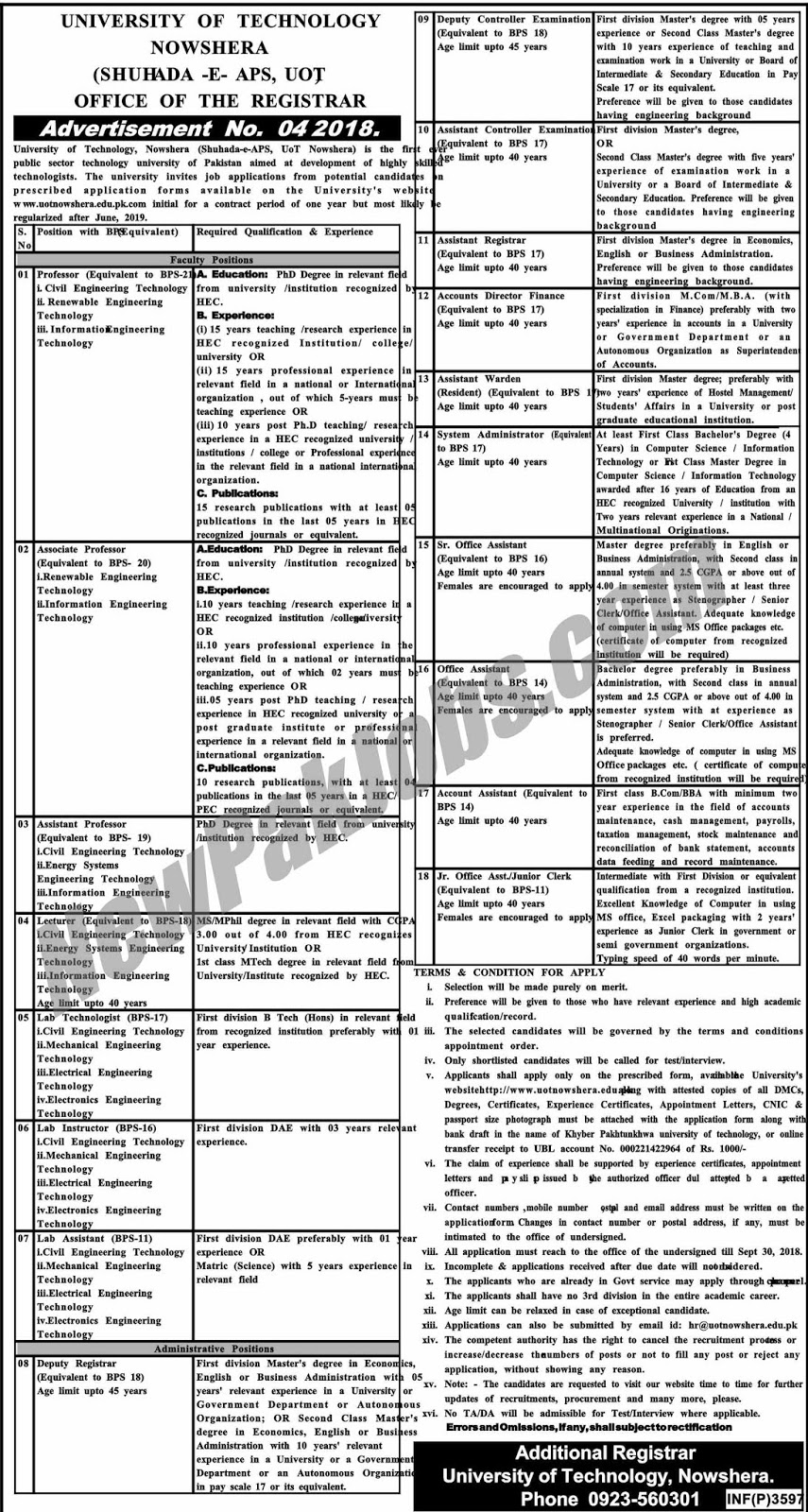 Govt Jobs in University of Technology