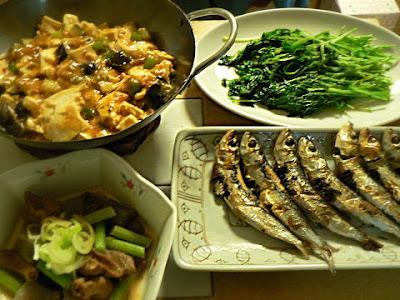 煮込み麻婆 豆苗塩焼き そしてメザシ