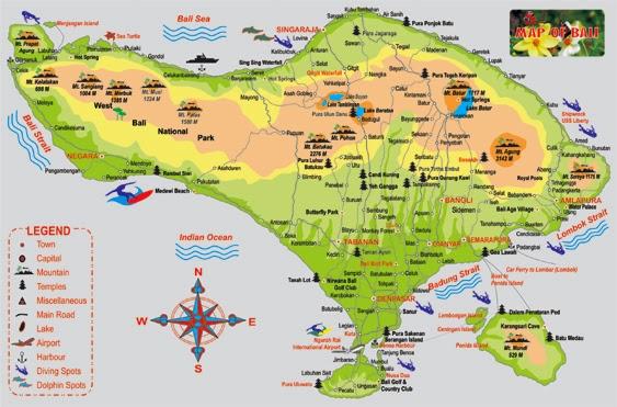 Map Of Bali ~ Star Bali Tours | Bali Travel