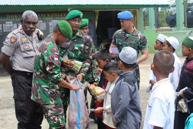 Berkah Naik Pangkat, TNI Berbagi Kasih Dengan Anak Yatim Piatu Di Perbatasan