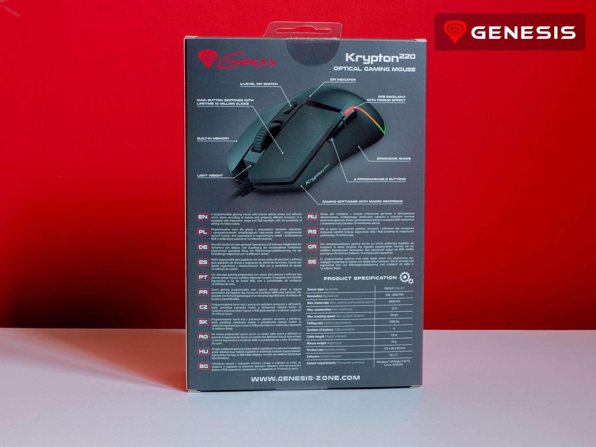 Myszka Genesis Krypton 220 tył pudełka