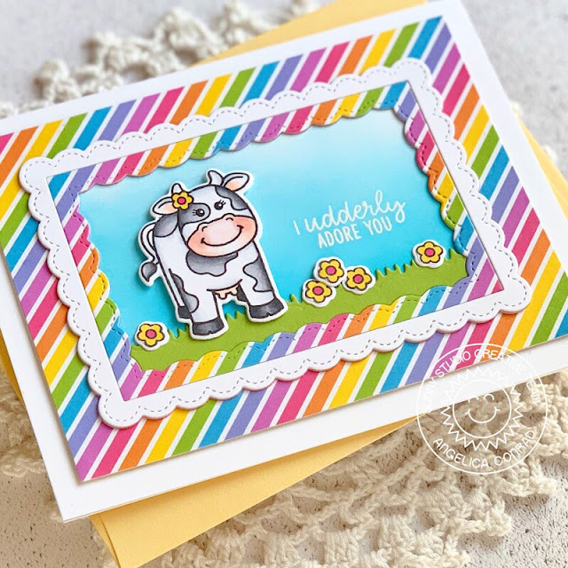 Sunny Studio Stamps: Miss Moo Fancy Frames Comic Strip Everyday Dies Punny Birthday Cards by Angelica Conrad