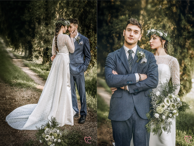 Winter elopement a Chieri,in italia,in un bosco di cipressi