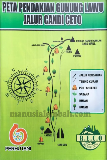 Peta Pendakian Gunung Lawu via Candi Cetho