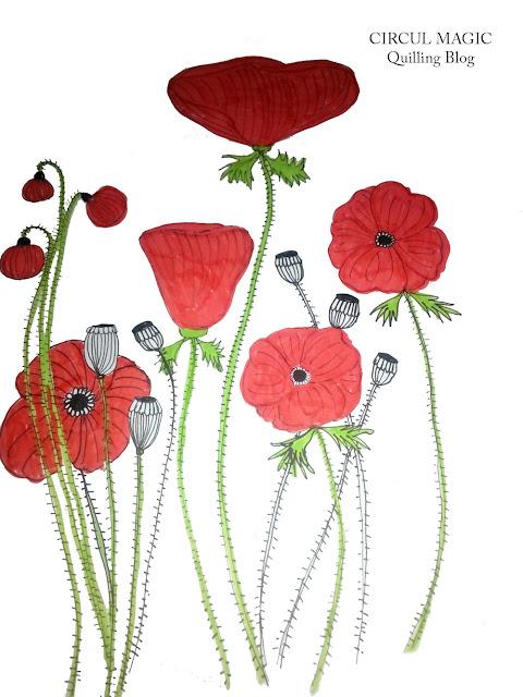 Desen cu maci Circul Magic flori de vara