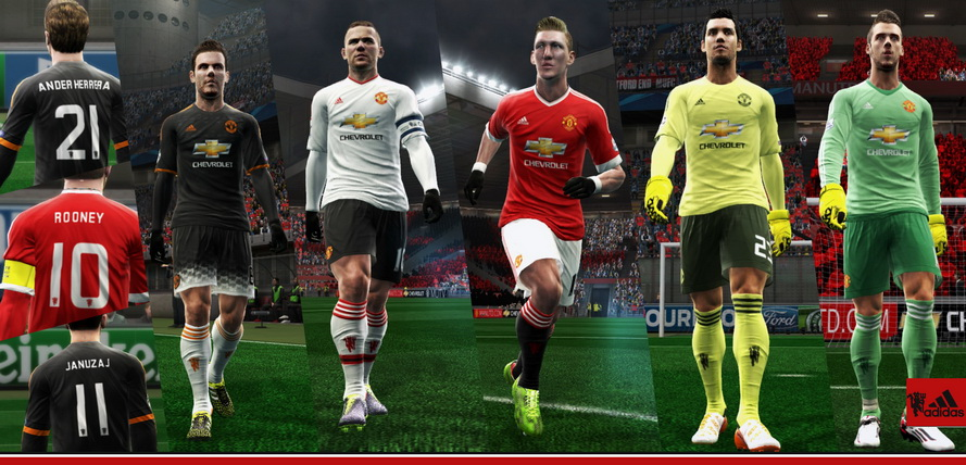 f80aeacdeab Manchester United 2015-16 Kits With New UCL Font By Abdallah El Ghamry. DOWNLOAD  PES 2013 ...