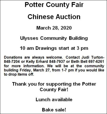 3-28 Potter County Fair Chinese Auction & Bake Sale