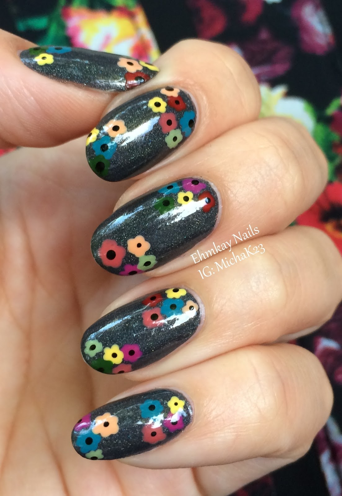 Floral Manicures For Spring And: Ehmkay Nails: Multicolored Floral Dotticure Nail Art