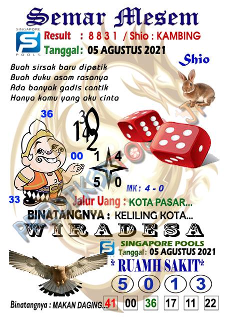 Syair Semar Mesem SGP Kamis 05-08-2021