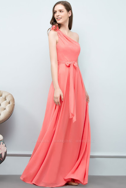 One-shoulder Bridesmaid Dress with Bow Sash