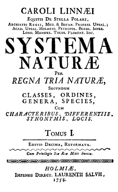 Title Page of Systema Naturae by Carl Linnaeus