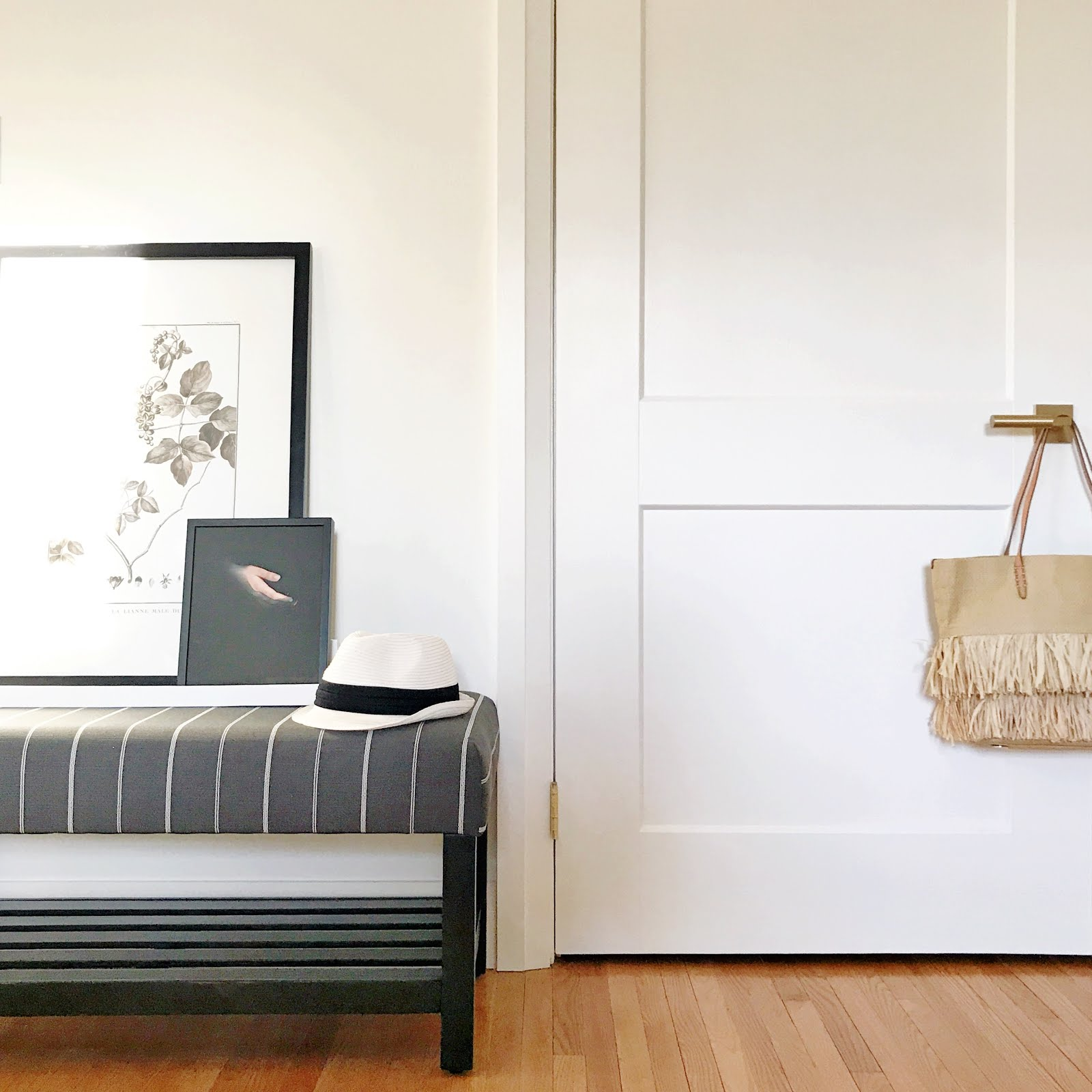 serene master bedroom | botanical art | double closet door | one room challenge bedroom