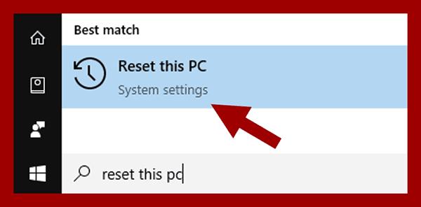 Membuka Reset This PC