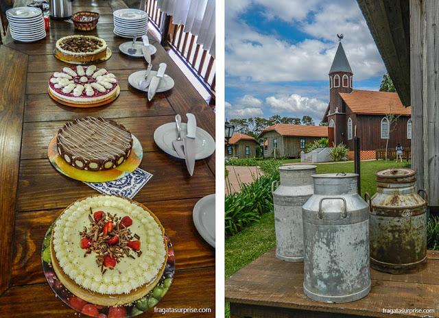 Tortas holandesas servidas na cafeteria do Parque Histórico de Carambeí, Paraná