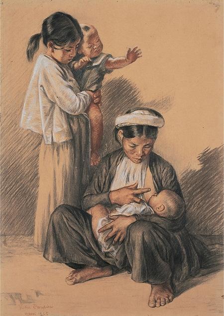 """Bức tranh """"Mẹ và con"""" của họa sỹ Victor Tardieu"""