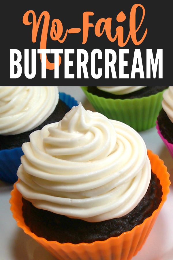 No-Fail Buttercream Frosting! A foolproof buttercream frosting recipe with one box powdered sugar and one stick of butter and almost no measuring! Flavor with your favorite extract such as vanilla, almond, lemon, coconut or peppermint!